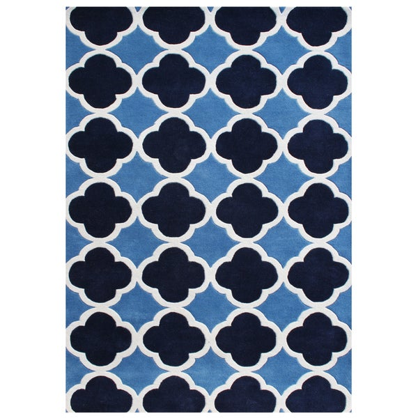 Alliyah Handmade Azure Blue New Zealand Blend Wool Rug (8'x10')