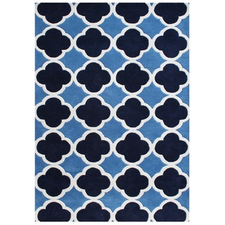Alliyah Hand Made Tufted Blue Wool Rug (5x8)