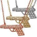 Beverly Madison Plated Silver Cubic Zirconia Gun Necklace