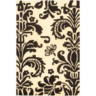 Hand Tufted Savannah I White Wool Rug (4x6)
