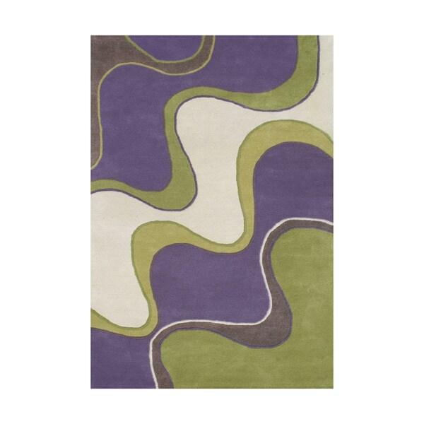 Alliyah Hand Made Tufted Large Waves Purple Wool Rug (6x9)