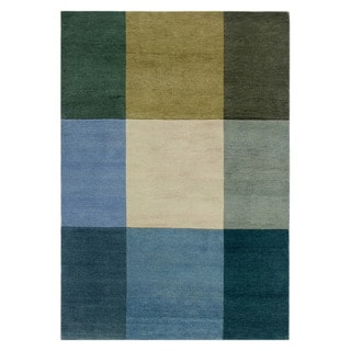 Hand-knotted Geometric Light Turquoise Wool Rug (2' x 4')