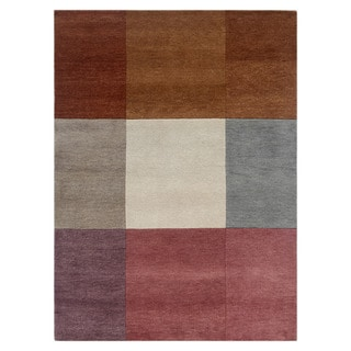 Hand-knotted Geometric Orange Berry Wool Rug (3' x 5')