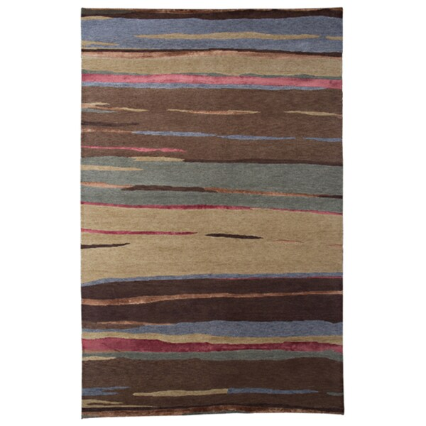 Indo-tibetan Abstract Amber Gold Wool Rug (5'6 x 8'6)