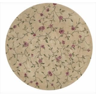 Nourison Hand-tufted Julian Floral Light Gold Rug (6' Round)