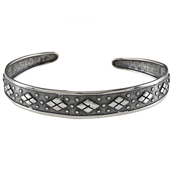 LucyNatalie Sterling Silver Checker Flexible Cuff Bracelet