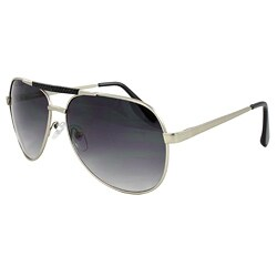 Unisex Silver Purple/Black-Lens Aviator Sunglasses