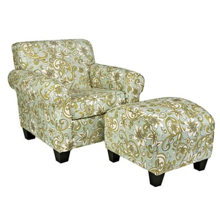 Portfolio Mira Lily Floral Blue Chair and Ottoman