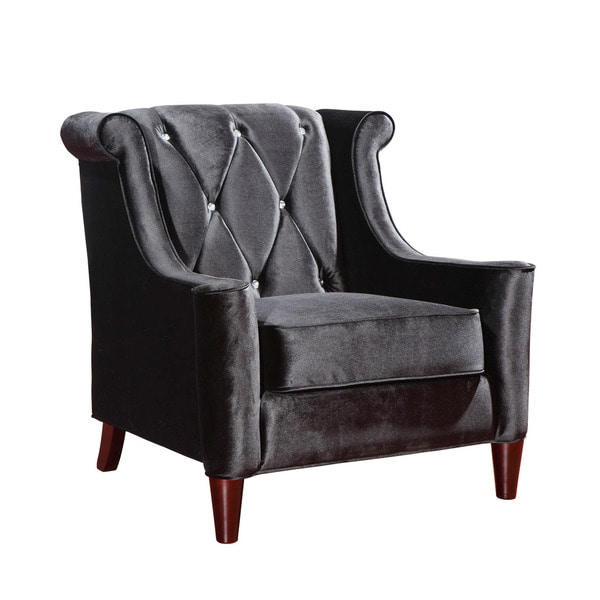 Black Crystal-embellished Modern Velvet Chair