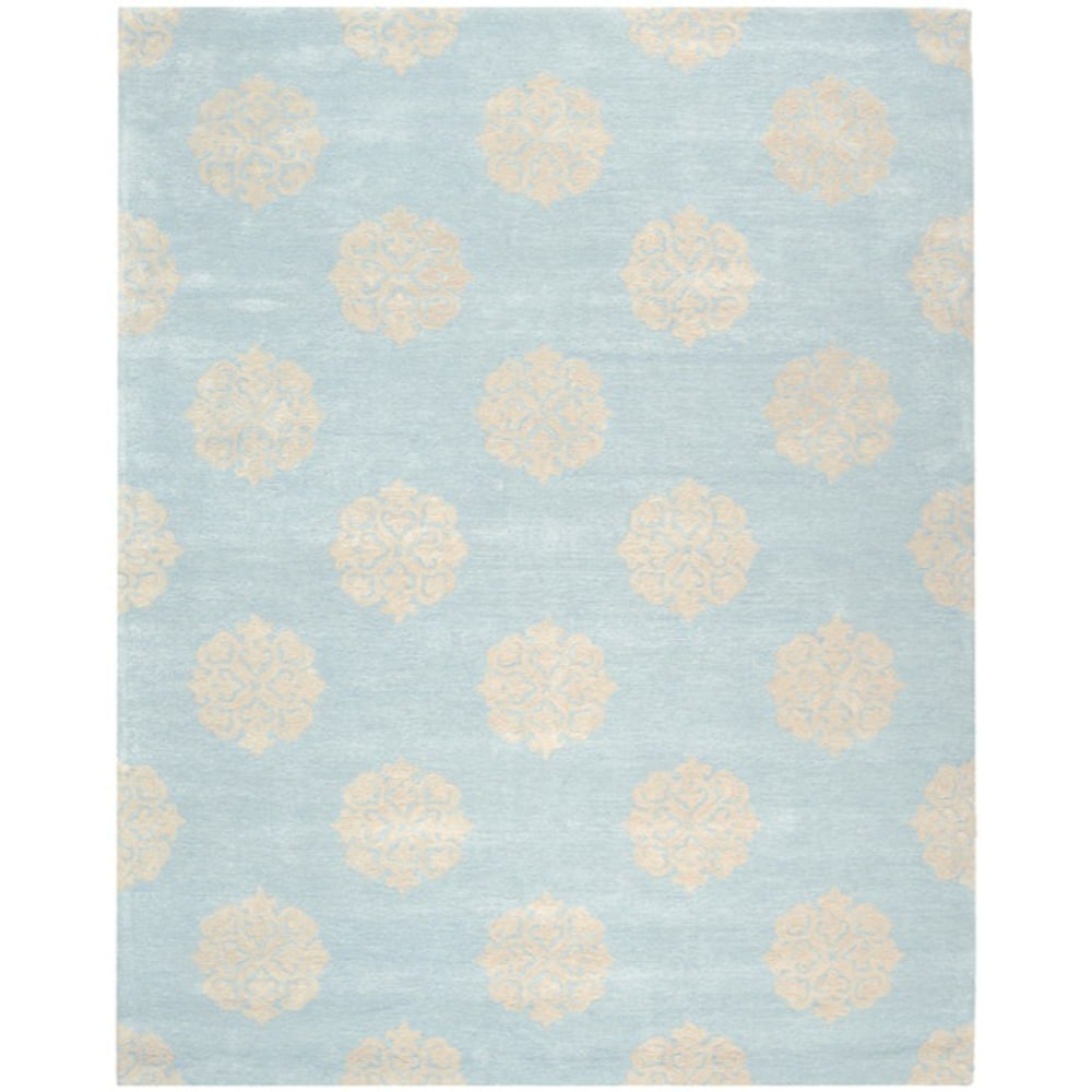 Handmade Soho Medallion Light Blue Wool Rug (12' x 15')