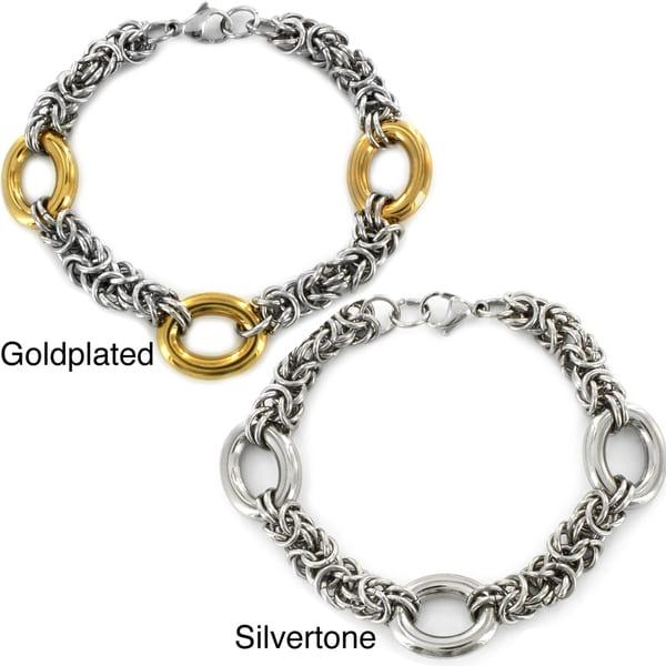 West Coast Jewelry Stainless Steel Oval Link Byzantine Chain Bracelet