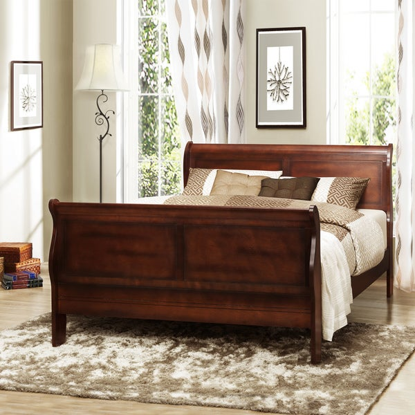 Canterbury Cherry Finish Queen-size Sleigh Bed - 80004934 - Overstock ...