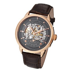 Stuhrling Original Men's Executive Skeleton Automatic Leather Strap Watch