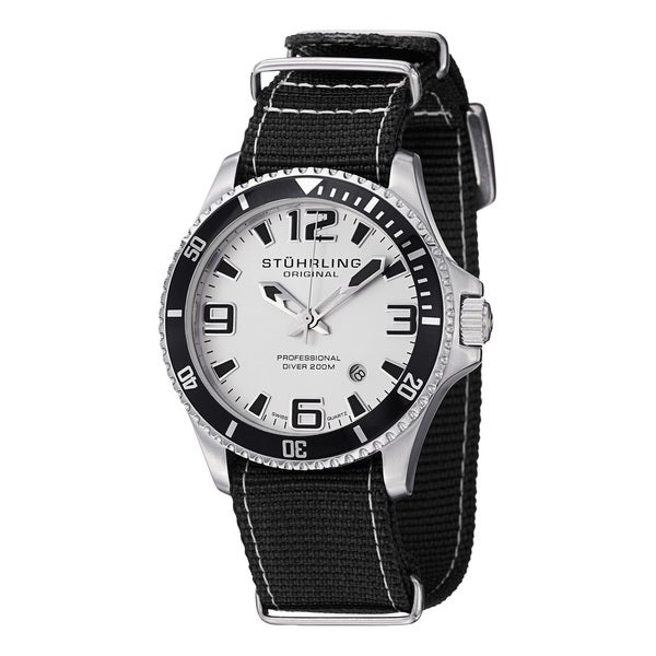 Stuhrling Original Men's Regatta Champion II Black Canvas Strap Watch
