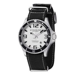 Stuhrling Original Men's Regatta Champion II Black Canvas Strap Watch