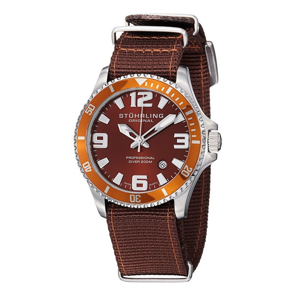 Stuhrling Original Men's Regatta Champion II Brown Canvas Strap Watch