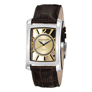 Stuhrling Original Men's Gatsby Skeleton Quartz Leather Strap Watch