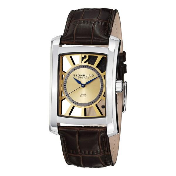 Stuhrling Original Men's Gatsby Skeleton Quartz Leather Strap Watch