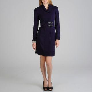 Lennie for Nina Leonard Women's Purple Knit Dress