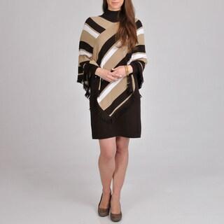 Lennie for Nina Leonard Women's Sweater Dress Striped Poncho