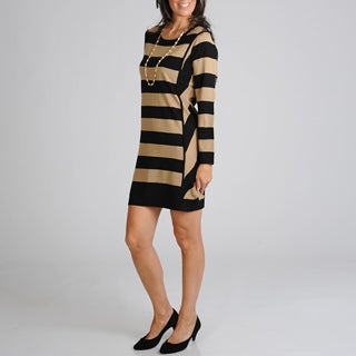Lennie for Nina Leonard Women's Black/ Camel Striped Dress