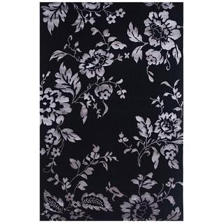 Indo-Tibetan Abstract Ebony Wool Rug (5'6 x 8'6)