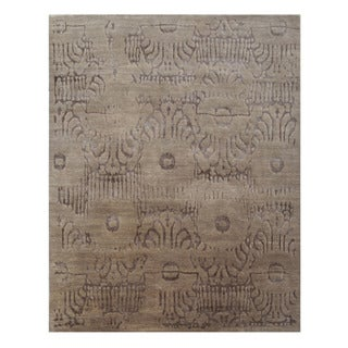 Hand-knotted Abstract Beige Wool Rug (8' x 10')