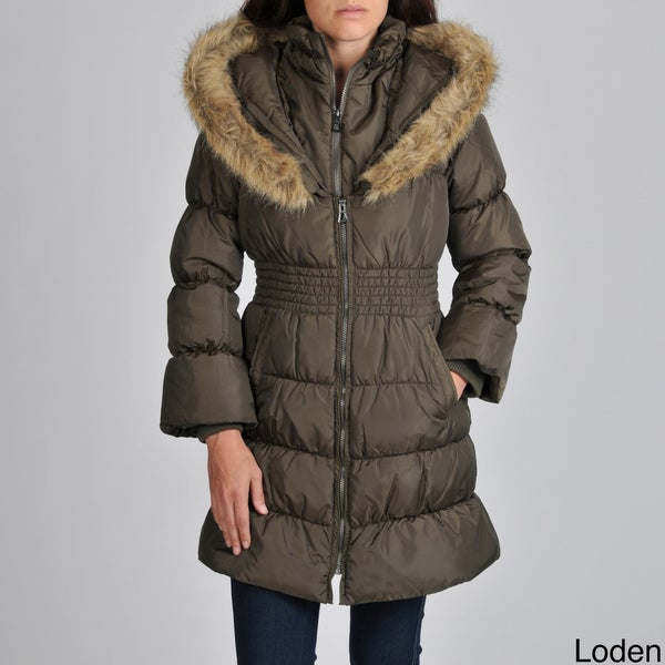 Hawke & Co Women's Ruched inset Waist Puffer Jacket