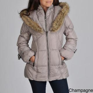 Hawke & Co Women's Faux Fur Trim Hood Puffer Jacket