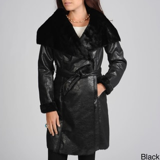 Hawke & Co Women's Belted Faux Shearling Coat