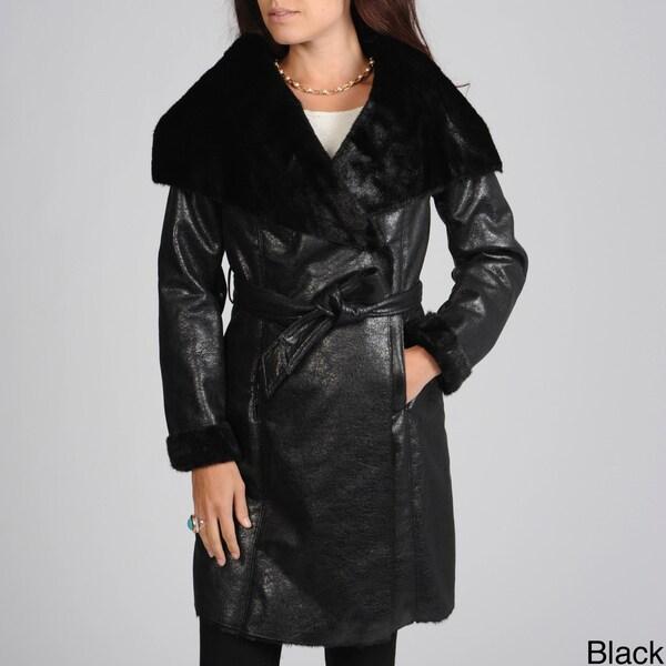 Hawke & Co Women's Belted Faux Shearling Coat