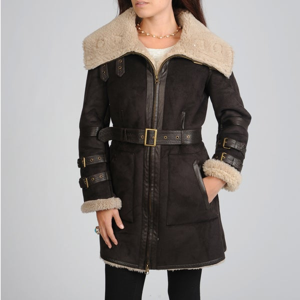 Hawke & Co Women's Belted Faux Sherpa