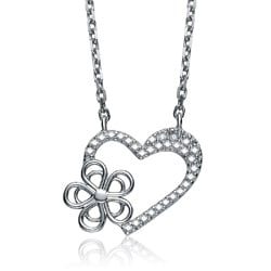 Collette Z Sterling Silver Cubic Zirconia Heart and Flower Necklace