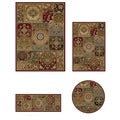 Impressions Red 4-piece Rug Set