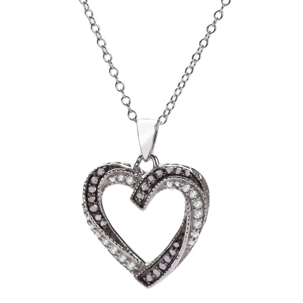 Sterling Silver Black and White Diamond Heart Pendant (H-I, I1-I2)