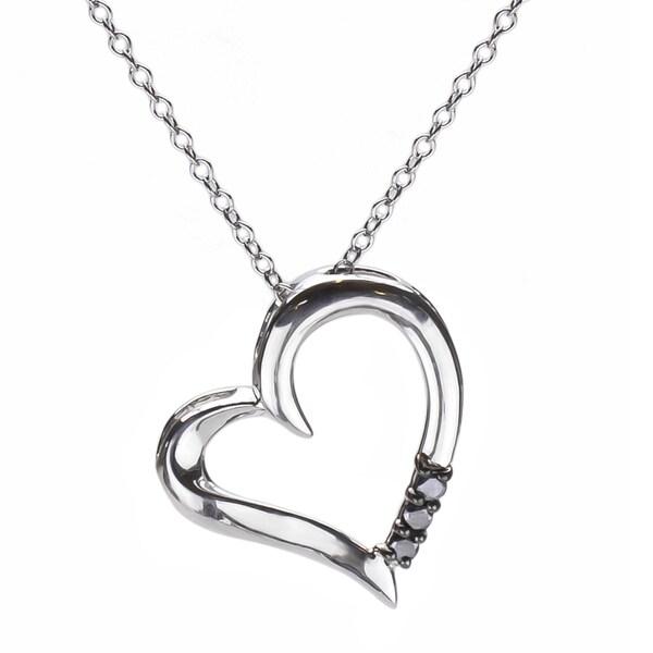 Sterling Silver 1/10ct TDW Three Stone Black Diamond Heart Pendant