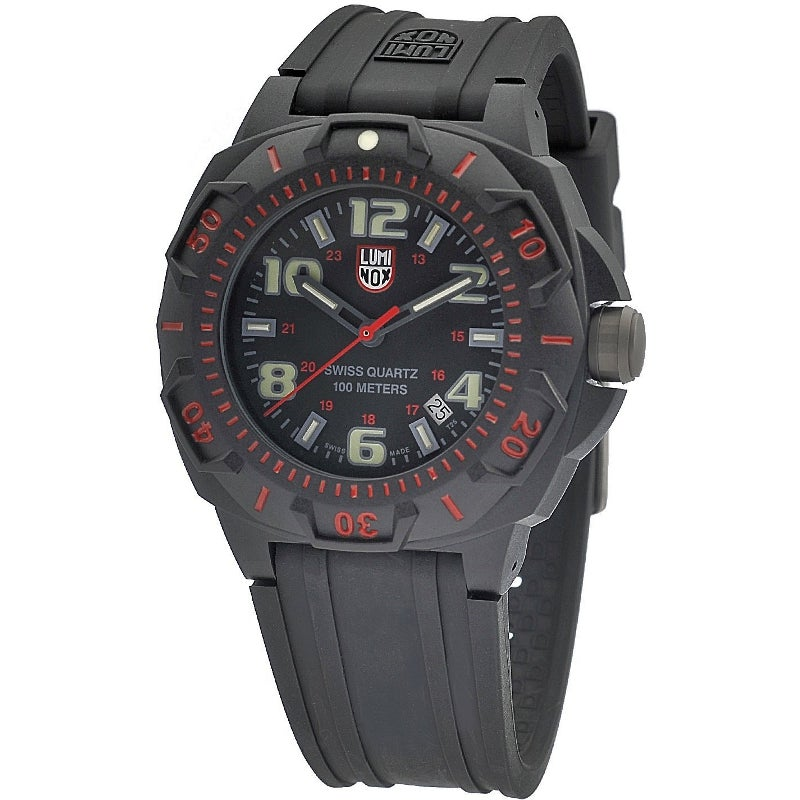 Luminox Men's A.0215.SL 'Sentry' Black/Red Dial Black Rubber Strap Time Date Quartz Watch