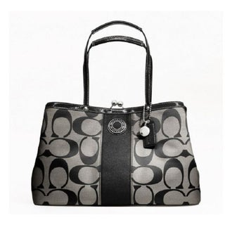 Coach 'Stripe' Framed Black/ White Tote Bag