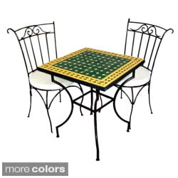 Square Iron 3-piece Mosaic Dining Table Set (Morocco)