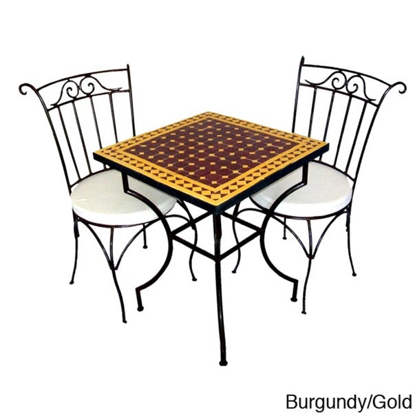 Square Iron 3-piece Neutral Mosaic Dining Table Set (Morocco)