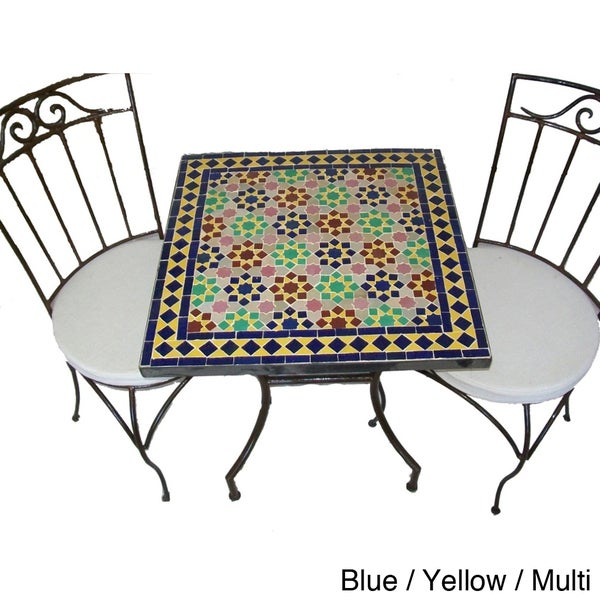 Iron Mosaic Square Table and Chairs Set (Morocco)