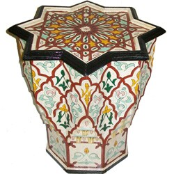 Handpainted Burgundy/White Atlas Star Wooden End Table (Morocco)