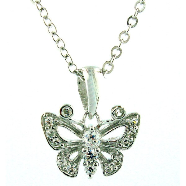 Sterling Silver 1/5ct TDW Diamond Butterfly Necklace (H-I, SI1-SI2)