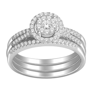 De Couer 10k White Gold 1/2ct TDW Diamond Bridal Ring Set (H-I, I2) with Bonus Necklace