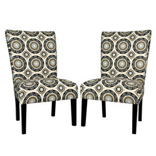 Portfolio Duet Modern Pinwheel Cream and Sky Blue Upholstered Armless Dining Chairs (Set of 2)
