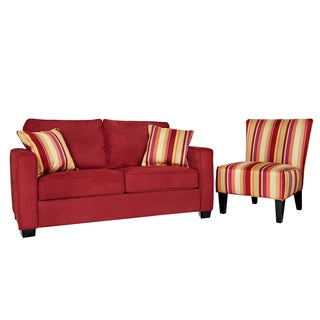 Portfolio Madi Crimson Red Sofa and Hali Striped Wine Armless Chair