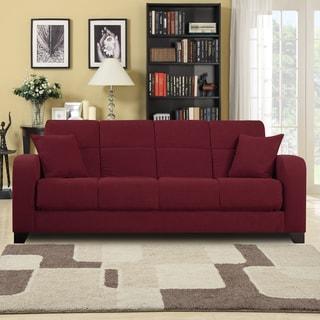 Craig Red Microfiber Convert-a-Couch Futon Sofa Sleeper