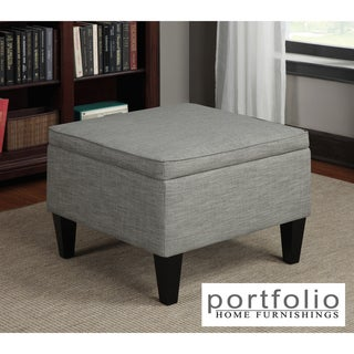 Portfolio Engle Barley Tan Linen Table Storage Ottoman