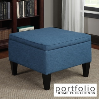 Portfolio Engle Caribbean Blue Linen Table Storage Ottoman