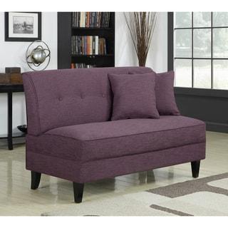 Portfolio Engle Amethyst Purple Linen Armless Loveseat